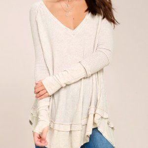 Free People ls white v neck laguna thermal top S